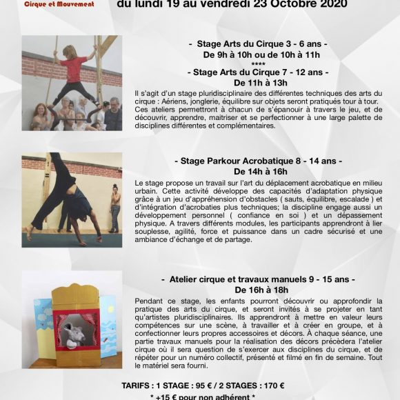 Stages Enfants/Ados – octobre 2020