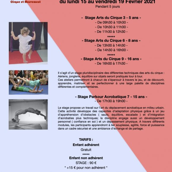 Stages Cirque & Parkour Enfants/Ados – Février 2021