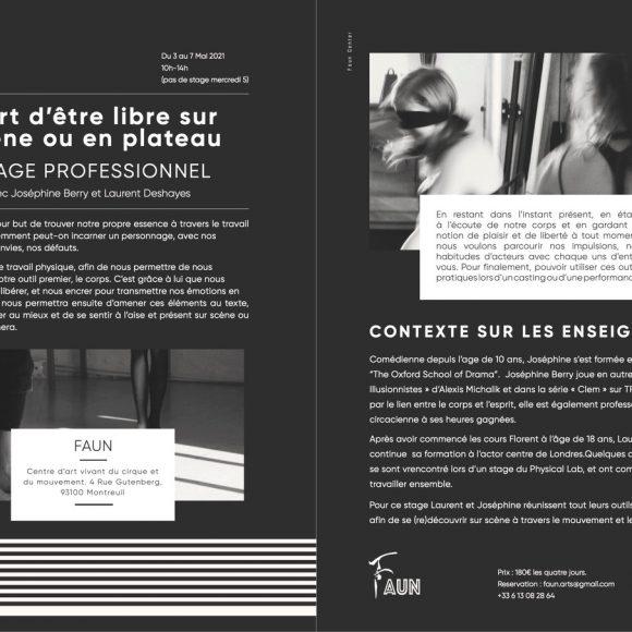 Stages pro «L'art d'être libre sur scène ou en plateau», du 3 au 7 mai de 10h à 14h à FAUN